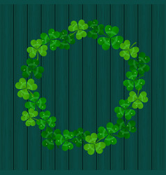 saint patricks day frame with green shamro vector image