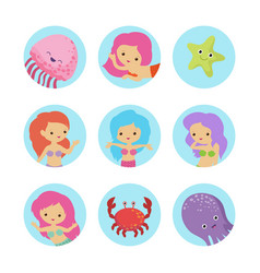 sealife cartoon characters icons set vector image