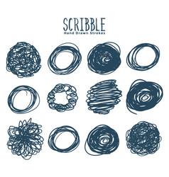 Set circular scribbles and frames design vector