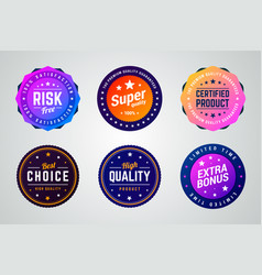 set of premium colorful gradient badges vector image