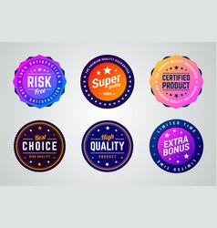 Set of premium colorful gradient badges vector