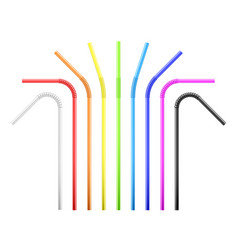 set rainbow colorful flexible cocktail straw vector image