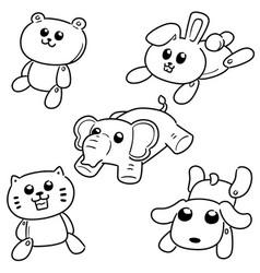 set stuffed animals vector image