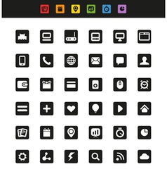 Simple web navigation pictograms collection vector image