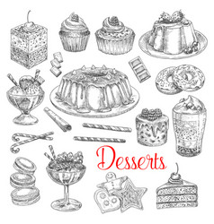 sketch icons of dessert cookies and cakes vector image