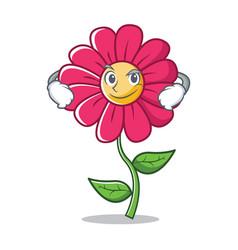 smirking pink flower character cartoon vector image