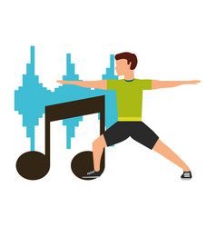Sport man physical stretching musical equalizer vector
