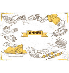 template different types dinner item for vector image