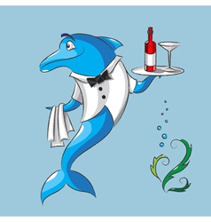The dolphin is the waiter vector image