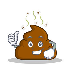 thumb up poop emoticon character cartoon vector image