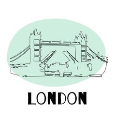 Tower bridge london england uk hand drawn vector