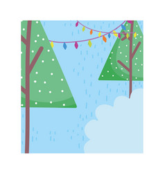 trees hanging lights snow celebration merry vector image