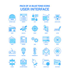 User interface blue tone icon pack - 25 icon sets vector