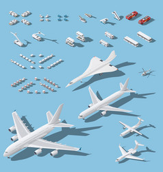 Various passenger airplanes and maintenance vector
