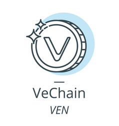 Vechain cryptocurrency coin line icon of virtual vector