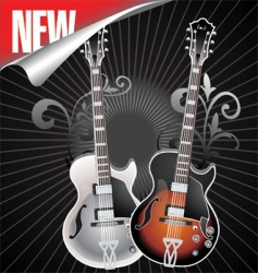 Vintage retro guitar vector