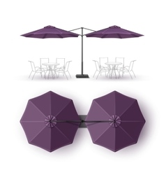 Violet Outdoor Beach Restaurant Umbrella Mock up vector