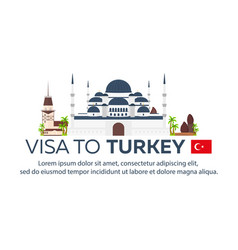 Visa to turkey document for travel flat vector