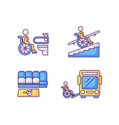 Wheelchair users facilities rgb color icons set vector