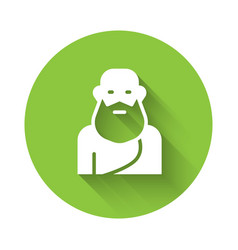 White socrates icon isolated with long shadow vector