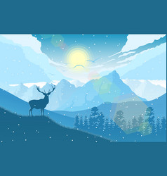 Winter mountains landscape with deer on the hills vector