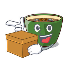 With box indian masala tea on character board vector