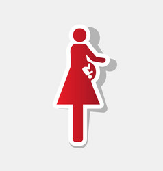 Women and baby sign new year reddish icon vector