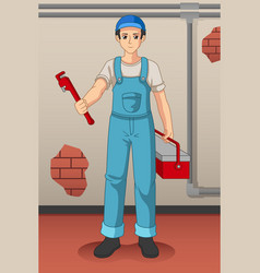 working plumber with his tools vector image