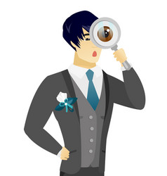 Young asian groom with magnifying glass vector
