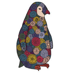 zen tangle and zen doodle penguin zentangle vector image