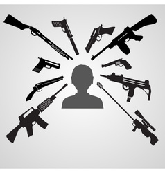 Firearms weapons aim to the head of a man eps10 vector