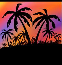 palms black background vector image