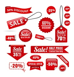 Red Sale Discount Tags Badges And Ribbons vector image