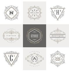 Set of monogram calligraphic logo vector