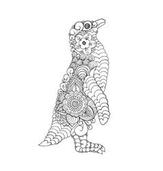 Zentangle stylized cute penguin vector image vector image
