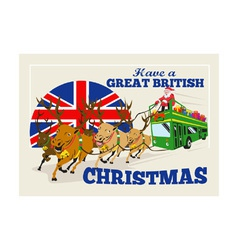 Great british christmas santa reindeer doube vector