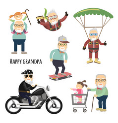 happy grandpa after retirement vector image vector image