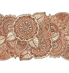 Indian henna tattoo style floral horizontal vector image vector image