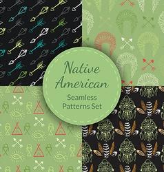 Native American Seamless Patterns Set vector image