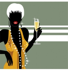 party girl with champagne vector image vector image