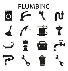 set black icons of plumbing vector image