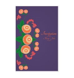 greeting card with stylized flowers can be used vector image