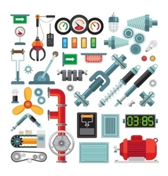 Machinery flat icons vector image vector image