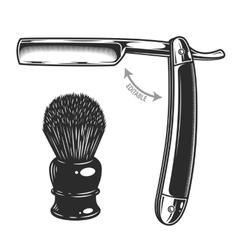 Monochrome of straight razor and vector image