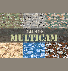 set of multicam camouflage seamless patterns vector image