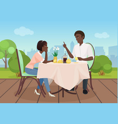 african american man and woman dinner in a vector image