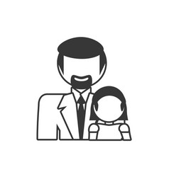 father and daughter family members outline vector image vector image