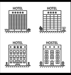 hotels and hostel line icon set vector image vector image