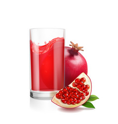 pomegranate juice in a glass vector image vector image