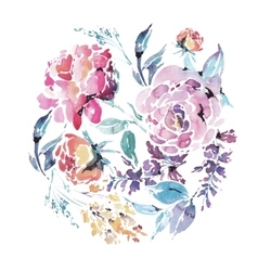 Watercolor floral round frame of red roses vector